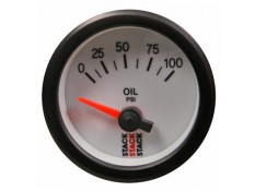 STACK 52mm Electric Oil Pressure Gauge - 0-100 psi White